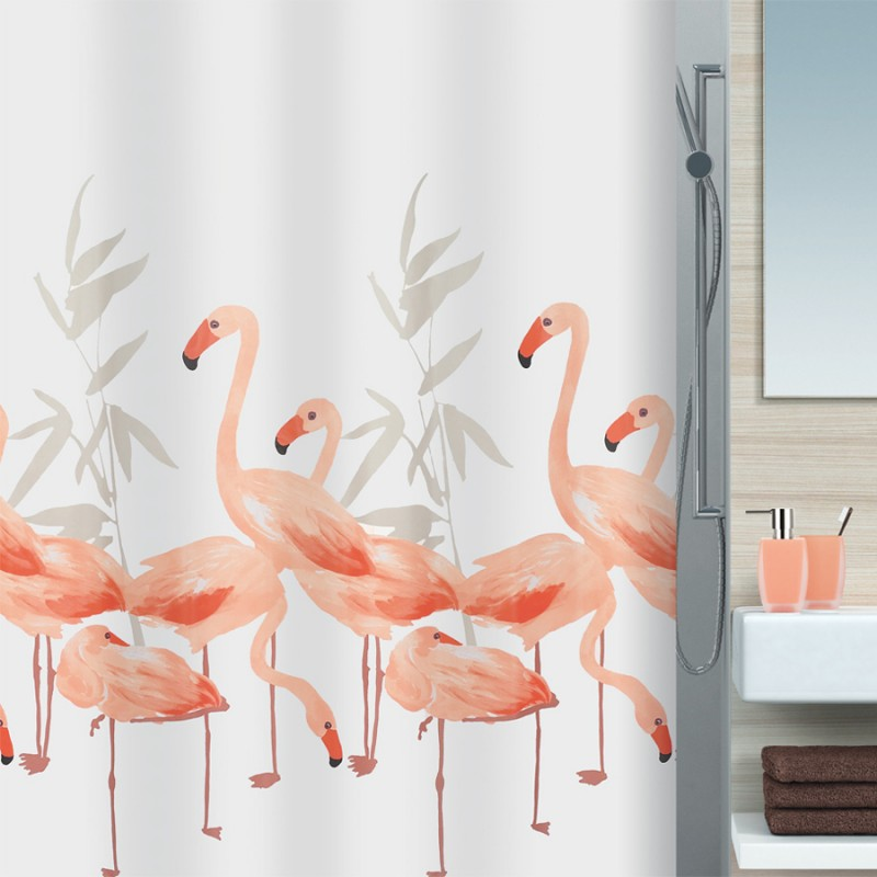 fehr badshop duschvorhang spirella flamingo textil. Black Bedroom Furniture Sets. Home Design Ideas