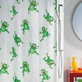 Spirella Quack Green Frogs TEXTILE Polyester Shower Curtain Fabric 180 x 200cm