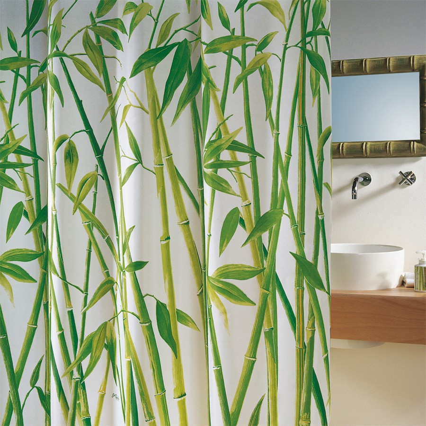 fehr badshop duschvorhang spirella bambus textil. Black Bedroom Furniture Sets. Home Design Ideas