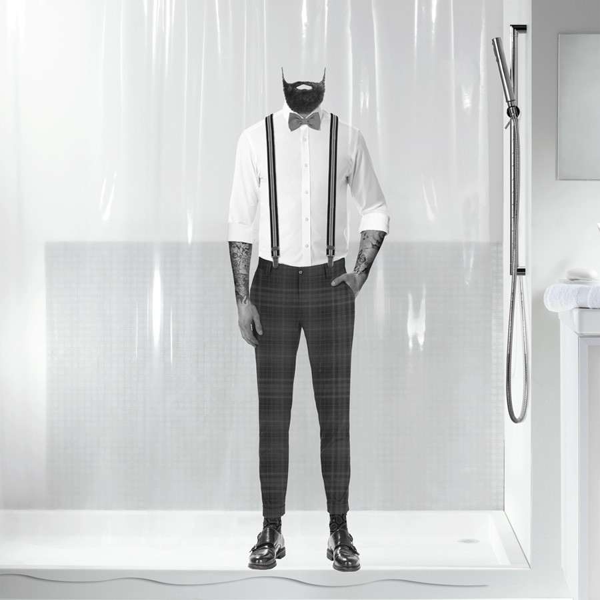 fehr badshop duschvorhang spirella dandy plastic eco pvc frei. Black Bedroom Furniture Sets. Home Design Ideas
