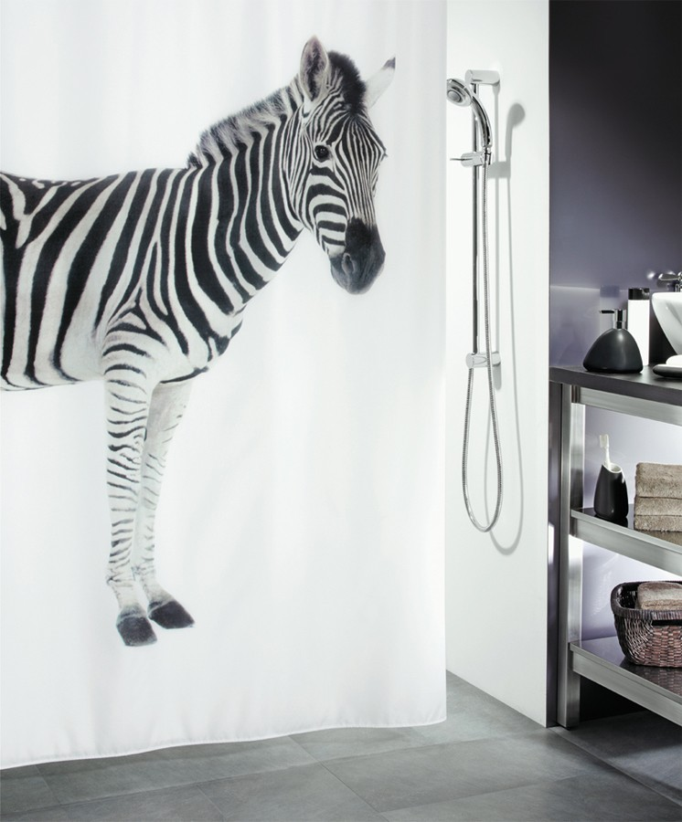 fehr badshop duschvorhang spirella zebra. Black Bedroom Furniture Sets. Home Design Ideas